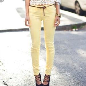 J BRAND pale yellow super skinny jeans